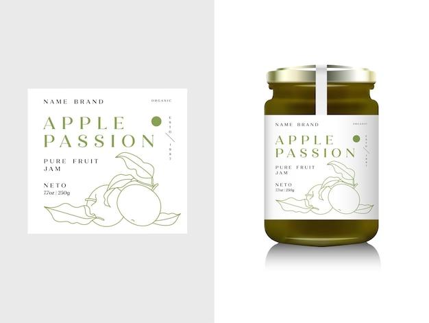 フルーツジャムのイラストリアルなガラス瓶のパッケージ。デザインラベル、タイポグラフィ、ラインアップルアイコンとアップルジャム。