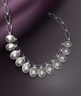 Illustration of a realistic graceful necklace with precious stones