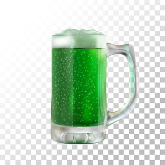 Illustration realistic green beer st patricks day on transparent