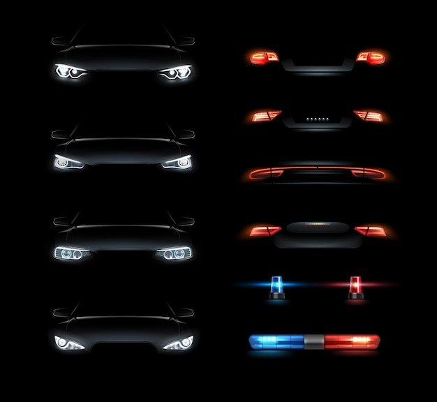 Illustration of realistic led headlights set front and back side views on black background