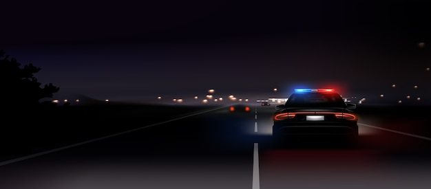 Illustration of realistic police car glow back headlights at night background