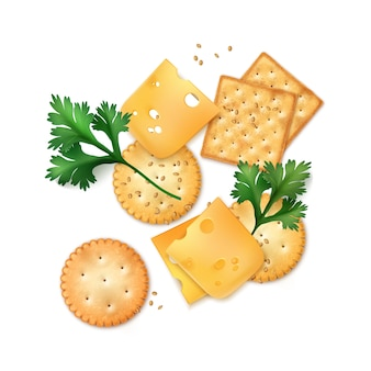 Illustration of realistic round and square cheese crackers with seeds isolated on white background