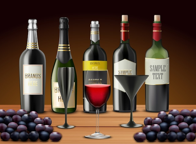 Illustration of realistic set of glasses wine
