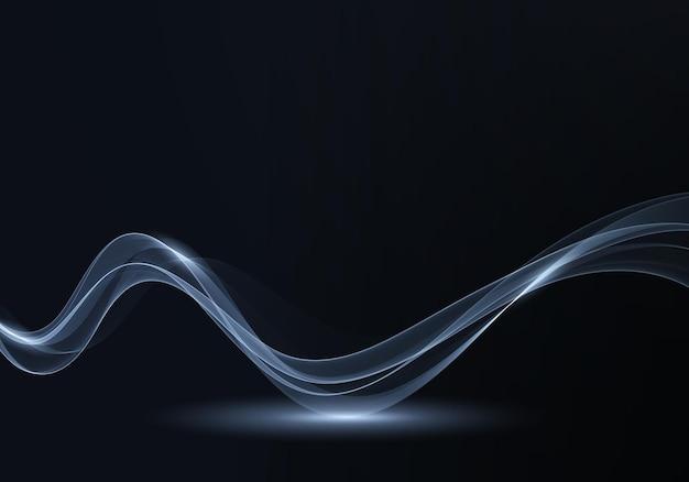 Иллюстрация реалистичный дым на черном фоне волновой поток фон