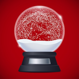 Illustration of realistic snow globe on red