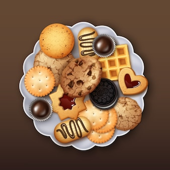 Illustration of realistic sweet jelly, butter and chocolate chip cookies