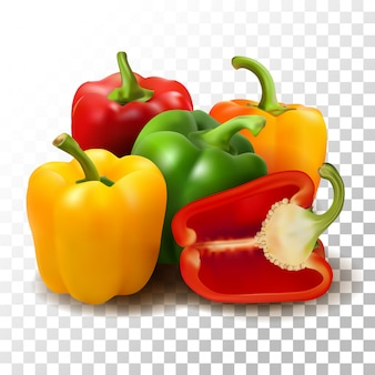 Illustration realistic sweet pepper on transparent