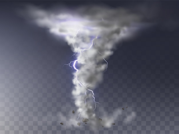 Illustration of realistic tornado with lightning, destructive hurricane