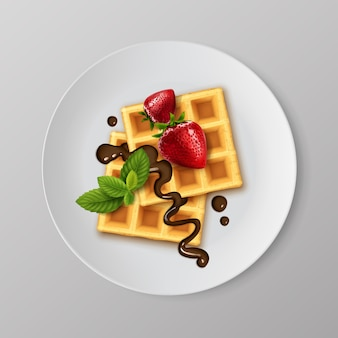 Illustration of realistic waffles with strawberries and chocolate syrup on white plate with mint