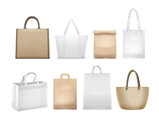 Illustration of realistic white and beige shopping bags
