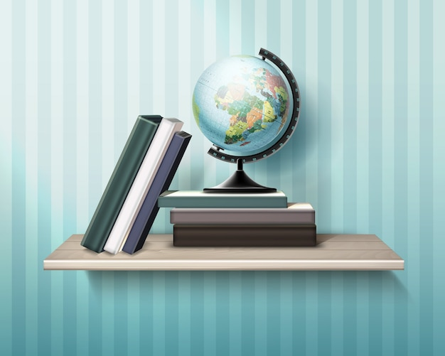 Illustration of realistic wooden shelf with books and globe on wall background