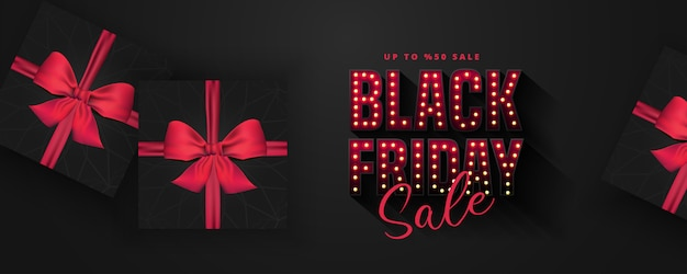 レトロな電球は黒い金曜日販売バナーレイアウトテンプレートに署名します。バナーと広告ポスター。 illustration.realisticブラックギフトボックス。図