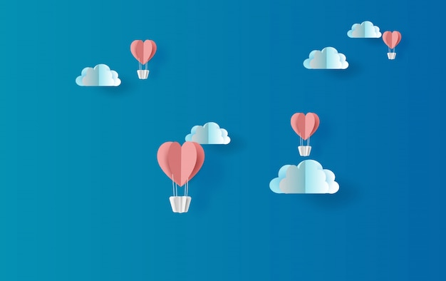 Illustration of red balloons heart floating
