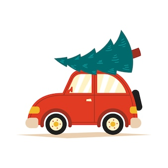 Illustration of a red car with a christmas tree on the roof on a white isolated background.