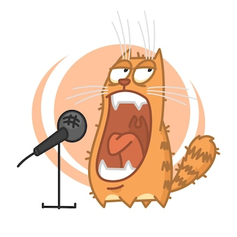 Illustration, red cat yells into microphone, format eps 10