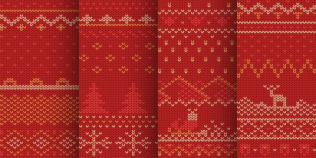 Illustration of red color winter theme seamless patterns in set