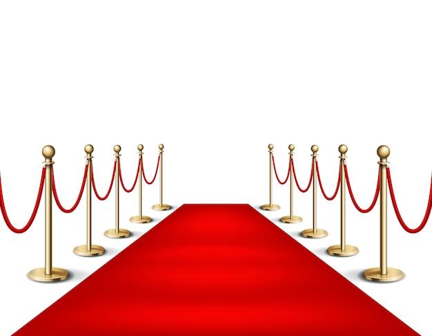 그림 빨간색 이벤트 카펫 및 황금 장벽 흰색 배경에서 현실적인 그림입니다. 레드 카펫 이벤트 디자인 요소입니다.