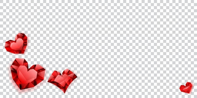 Illustration of red hearts made of crystals witn shadows on transparent background
