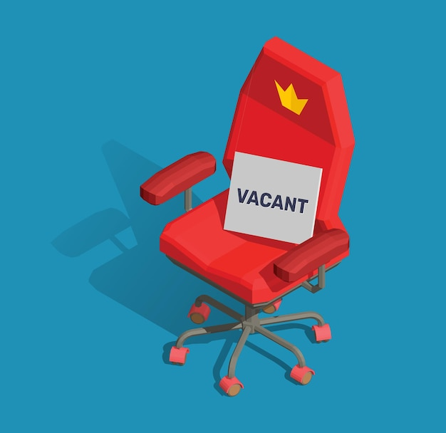Illustration of red office armchair with a sign and text vacant on blue background.