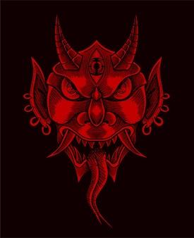 Illustration red oni mask on black surface