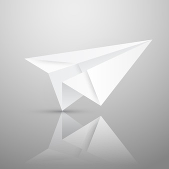 Illustration of red origami paper airplane on white background.