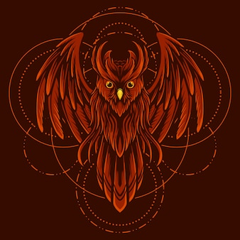 漫画スタイルのベクトルと幾何学的な図赤いフクロウ