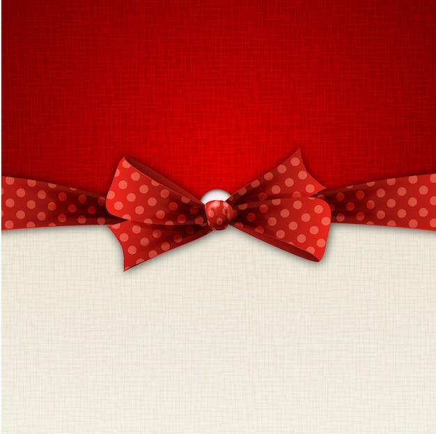 Illustration red polka dot bow and ribbon.