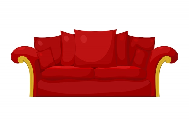 Illustration of a red sofa with pillows on a white background