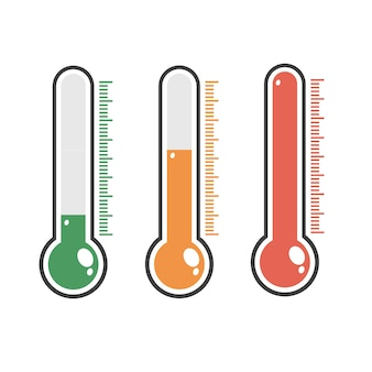 Illustration of red thermometers with different levels.