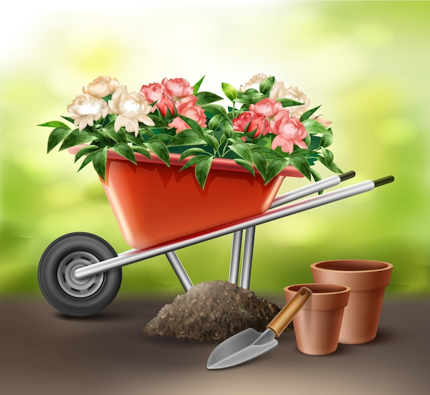 Illustration of red wheelbarrow full of flowers with trowel and pots