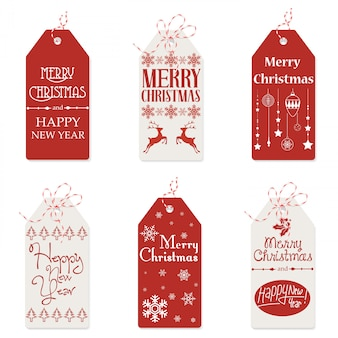 Illustration of red and white tags with small drawings and merry christmas words.