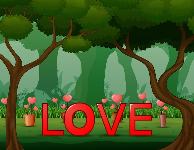 Illustration of red word love on the forest background