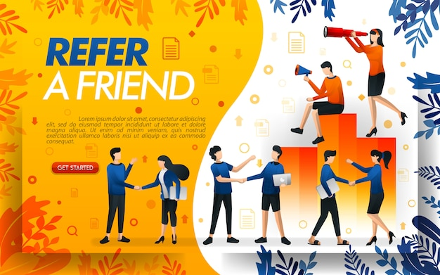 Illustration of a referral program with many people shaking hands