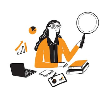 Illustration of a research businesswoman