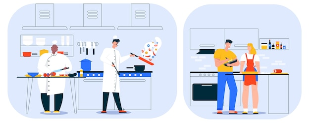 Illustration of restaurant kitchen interior and culinary staff. man chef cook prepares dishes, assistant worker cooking dinner. woman waitress is waiting for order cafe customers