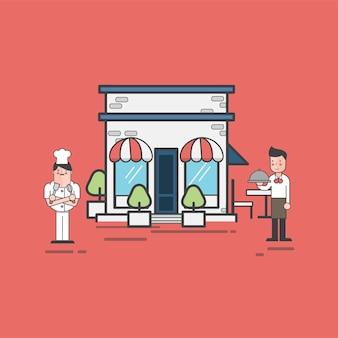 Illustration of restaurant vector set