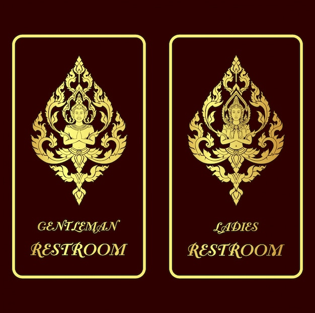 Illustration restroom golden signs