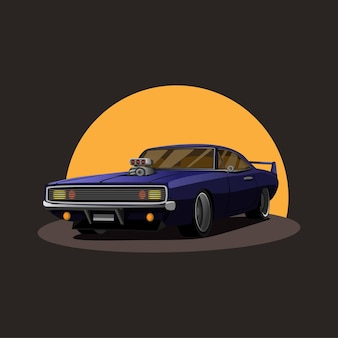 Illustration of retro american muscle car supercharger turbo with sunset on background concept in cartoon