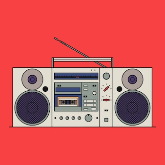 Illustration of retro cassette tape recorder isolated on red background. outline icon.
