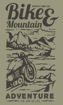Illustration of retro custom motorcycle on the top of the mountain