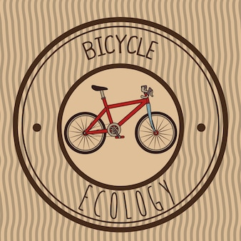 Illustration of retro emblem bicycle