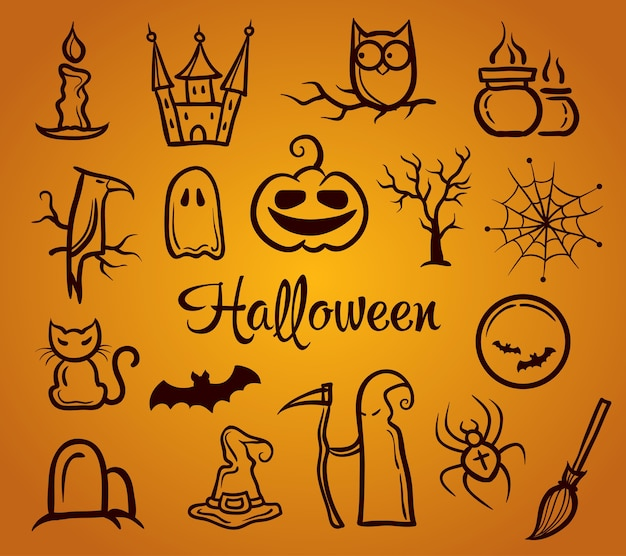 Illustration of  retro graphical composition with halloween elements