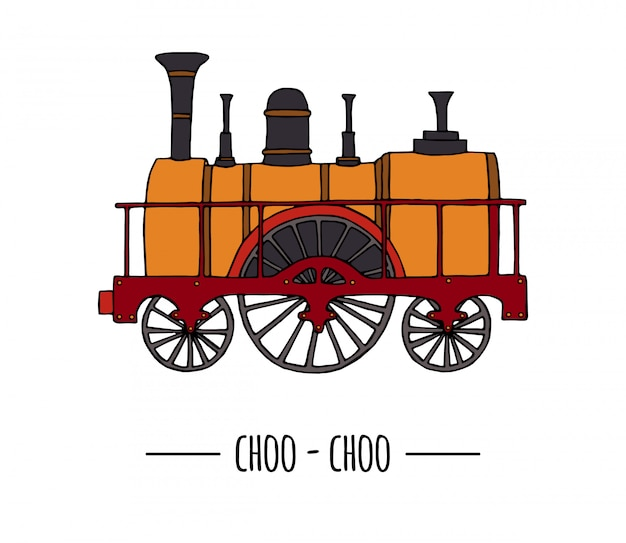 Illustration of retro locomotive train