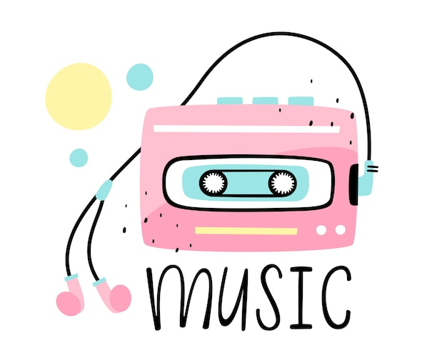 Illustration of a retro player with headphones and music lettering.