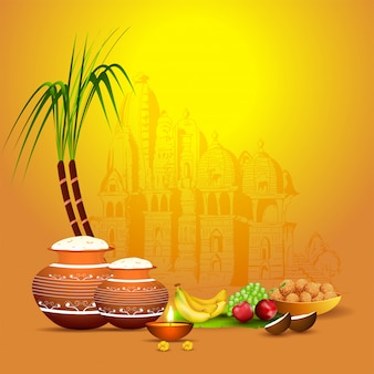 Illustration of rice mud pot with sugarcane, fruit, illuminated oil lamp (diya) and indian sweet (laddu) on yellow temple  for happy pongal celebration.
