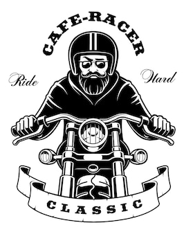Illustration of rider on motorcycle with beard and goggles. (version on white background) text is on white background.