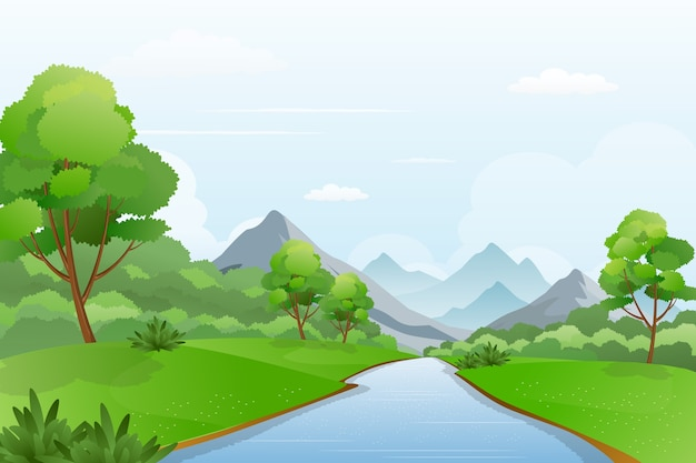 Illustration of river a cross mountains, beautiful riverside landscape scenery