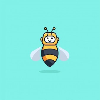 Illustration  robot bee cute cartoon style