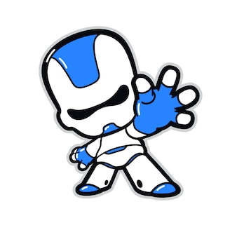 Illustration of a robot character with a raised hand.