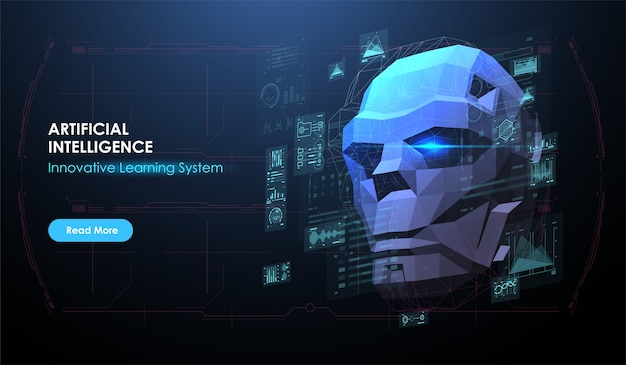 Illustration of robot head created in low poly style. ai. artificial intelligence concept. web banner layout template with hud futuristic interface.